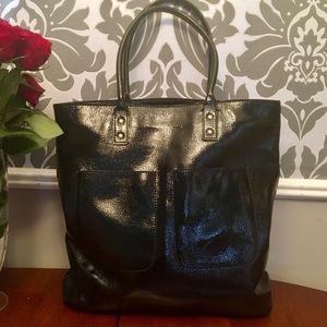 J CREW LEATHER Black Patent Shoulder Bag Purse